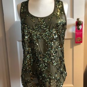 J.Crew | army green sequin tank top